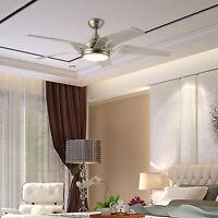 "56"" Stylish Ceiling Fan Brushed Nickel White Glass LED Light Kit Remote Control"