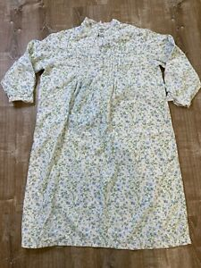 Vintage Laura Ashley Long Flannel White Gown blue green floral Large Long Sleeve