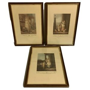 Lot of 3 Cries Of London Vintage Prints Painted by F. Wheatley R.A Framed