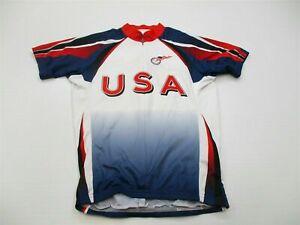 VOLER #T8936 Women's Size XS Athletic USA CYCLING 2009 Zipped White/Blue T-shirt