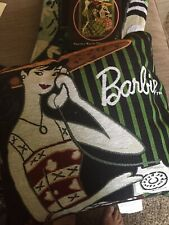 Barbie Tapestry Woven Throw With Fringe Detail And Matching Pillow Made in USA