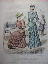 """54/ GRAVURE DE MODE """" Moniteur de la Mode Paris 1891 """".   Grand format 36x26"""