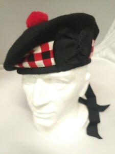Scottish Balmoral Bonnet Wool Cap Piper Hat Plain Black or Diced Sizes 54 - 64