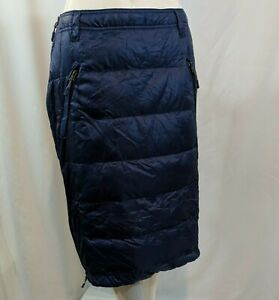 Blue Size L 32 Degrees Heat Down Quilted Nylon Snow Skirt Ultra Light Puffer