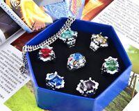 Katekyo Hitman Reborn Vongola Rings Necklace 7Pcs/Set Gift Box Collection