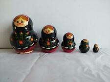 Beautiful Wooden Hand Painted Russian Nesting Dolls Signed