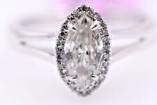 14K White Marquis Shape Diamond Halo Solitaire Engagement Ring 0.10Ct