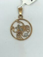 "585"" ROSE GOLD CANCER ZODIAC SIGN PENDANT"