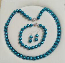 8mm AAA Dark Blue  Shell Pearl necklace Bracelet Earring Set