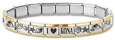 Italian Charm Bracelets Stainless Steel Gold Trim Sea Shell Modular I Heart Kona