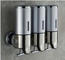 New Chrome Stainless Steel Bathroom Soap Dispenser Wall Mounted 3 Shampoo Box