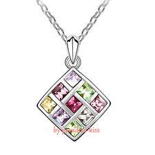 Collana Donna Cristallo Swarovski Elements Quadrato Multicolore A61