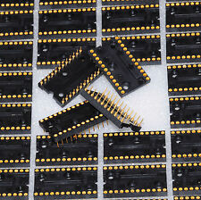 10 PC LOT- 24 PIN AUGAT MACHINE IC SOCKET GOLD INSERT CONTACTS & GOLD PINS - USA