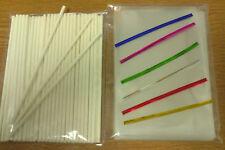 "50 x 6"" PAPER LOLLIPOP STICK KIT CAKE POP 4"" X 6"" CELLO BAGS METALLIC TWIST TIES"