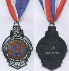Orig.Silver medal   STOKE MANDEVILLE GAMES 1981 - 400m  !!  EXTREM RARE