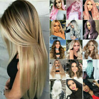 Ombre Full Wig Women Natural Long Straight Curly Hair Wigs Party Cosplay Fashion