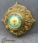 Heavy antique french mid 1900 s clock brass Silvoz Paris 6lb with key