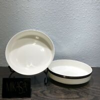 "Mikasa Bone China SOLITUDE 2 Pc Platinum Rim A5-166 6 1/2"" Salad Bowl Japan"