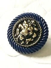 One Gold Lion Head in Navy Blue Chanel Classic Button, 22mm