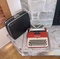 Working Smith Corona Galaxie Red Manual Portable 1964 Typewriter Case + Key
