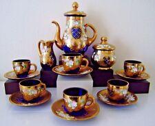 Murano 15 Piece Italian Tea Set 24K Gold Gilt Enamel Flowers Cobalt Blue Glass