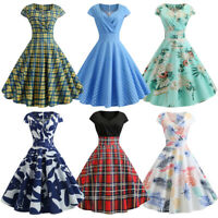 Women's Pinup Swing Checks&Dot&Floral Print Evening Party Rockabilly Retro Dress
