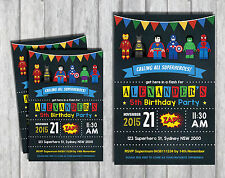 SUPERHERO LEGO Personalised Invitation Avengers Birthday Party Supplies Invite
