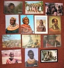 More details for collection masai tribal african warriors bead work jambo post cards rique 60/70s
