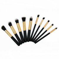 10pcs Makeup Brush Set Cosmetic Powder Foundation Blending Brushes Kabuki Black
