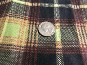 "Vintage Black Green Plaid Flannel Fabric Yardage 6 1/3 Yds x 44"" Wide"