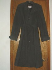 Mens Vintage Chess King Charcoal Gray Wool Trench Coat Fully Lined Size 40