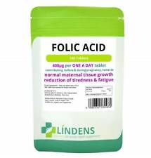 Folic Acid tablets, 1000 tablets, 400mcg - ONE A DAY (folacin, vitamin B-9) UK