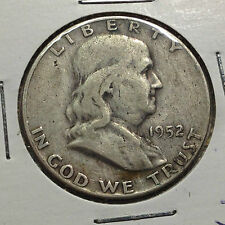 1952-D FRANKLIN SILVER HALF DOLLAR FROM OLD TYPE COIN COLLECTION