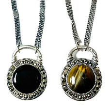 TIGERS EYE & ONYX NECKLACE Two-Sided Stones Marcasite .925 STERLING SILVER