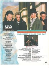 U2 With or Without You lyrics magazine PHOTO / Pin Up / Poster 11x8""