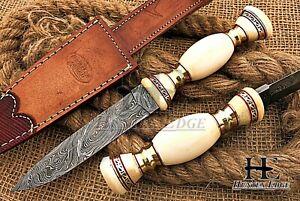 HUNTEX Custom Handmade Damascus 255 mm Long Full-Tang Camel Bone Bushcraft Knife