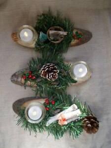 Christmas Table Decorations/Ornaments.Handmade Wood Slice T'Light Foliage Log