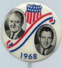 HUMPHREY, MUSKIE SHIELD AND SWIRL 1968 JUGATE POLITICAL PIN