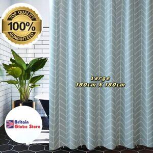 Shower Curtain Waterproof Anti Mould Quality Grey Geometric Pattern 12 Hooks