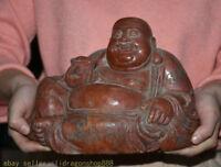 """9.2 """"vieille Chine Natural Shoushan Stone Sculpté Bouddha Heureux Laugh"""