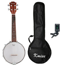 Kmise Concert Banjo Ukulele Concert 23 Inch 4 String Ukelele Sapele W/Bag Tuner