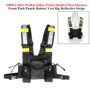 Holster Vest Rig Pocket Radio Chest Harness Front Pack Pouch Walkie Talkie Strap