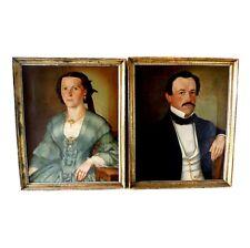 Paar Biedermeier Portraits in Öl auf Leinwand um 1830