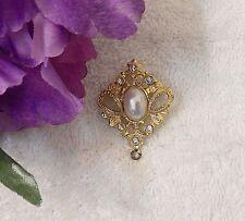 Rhinestones Costume Pearl Gold To Vl-Aj Classic Pin Brooch Triangular Petal Leaf