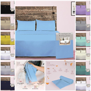 Egyptian Cotton Flat Sheets TC 400 Bed Sheet Single Double King Size UK Seller