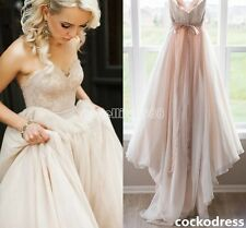 Blush/Pink Sweetheart A Line Wedding Dress Bridal Gown Custom Size 6 8 10 12 14+