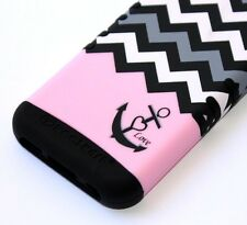 For iPhone 5C - HARD & SOFT RUBBER HYBRID IMPACT CASE PINK BLACK CHEVRON ANCHOR