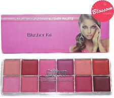 Saffron sleek 12 Blush Blusher Cream Palette Set Makeup Kit LONG LASTING NEW