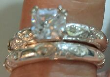 Ring Wedding Set 2 pience Paradise Bliss CZ engagement & Band Set Free Shipping