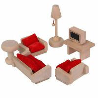 7pcs Wooden Furniture Dolls House DIY Miniature  Room House Set Kids Gift Toy